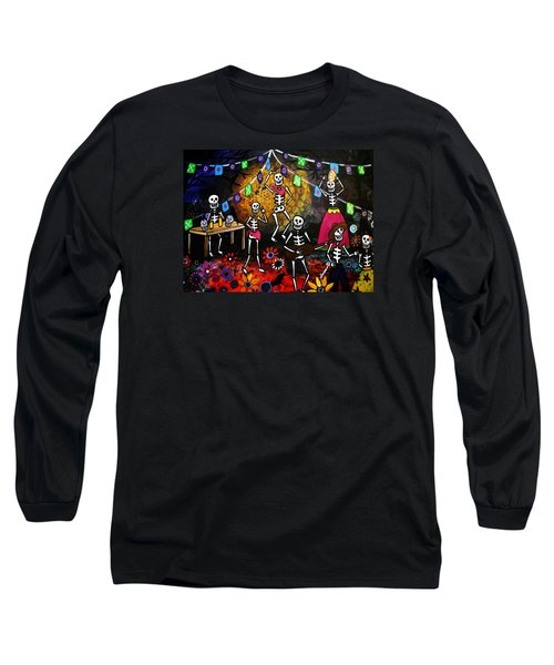 Long Sleeve T-Shirt featuring the painting Day Of The Dead Festival by Pristine Cartera Turkus