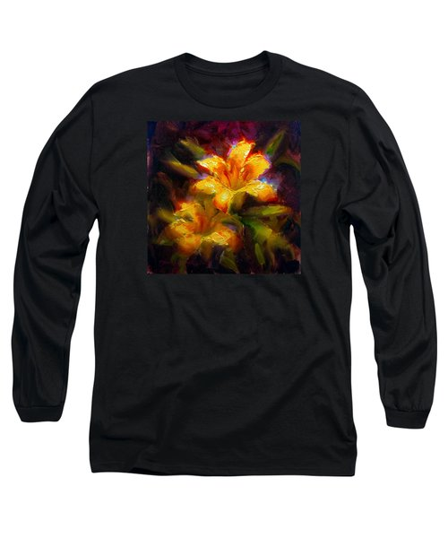 Long Sleeve T-Shirt featuring the painting Daylily Sunshine - Colorful Tiger Lily/orange Day-lily Floral Still Life  by Karen Whitworth