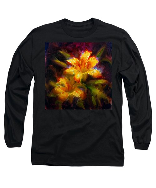 Daylily Sunshine - Colorful Tiger Lily/orange Day-lily Floral Still Life  Long Sleeve T-Shirt