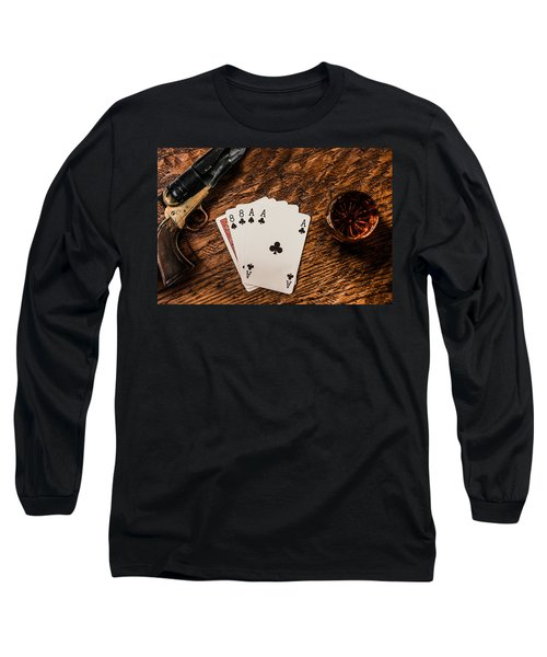 Dead Mans Hand A Gun And A Shot Of Whiskey Long Sleeve T-Shirt by Semmick Photo