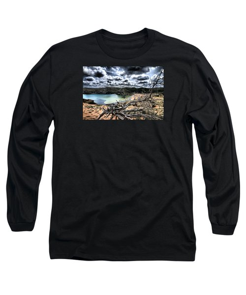 Dead Nature Under Stormy Light In Mediterranean Beach Long Sleeve T-Shirt by Pedro Cardona