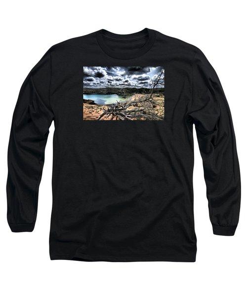 Dead Nature Under Stormy Light In Mediterranean Beach Long Sleeve T-Shirt