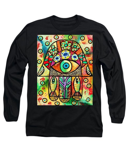 Dead Sea Fish Hamsa Long Sleeve T-Shirt