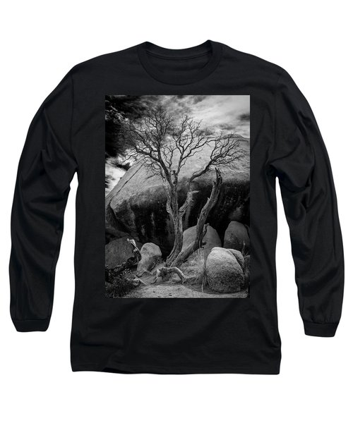 Dead Tree And Boulder At Joshua Tree Long Sleeve T-Shirt