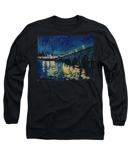 December Lights At The Old Bridge Long Sleeve T-Shirt by Nop Briex