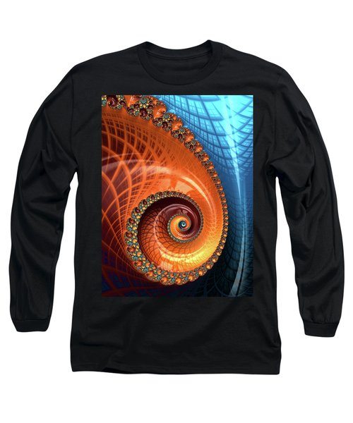 Long Sleeve T-Shirt featuring the digital art Decorative Fractal Spiral Orange Coral Blue by Matthias Hauser