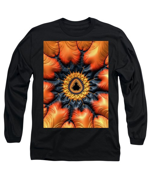 Long Sleeve T-Shirt featuring the digital art Decorative Mandelbrot Set Warm Tones by Matthias Hauser