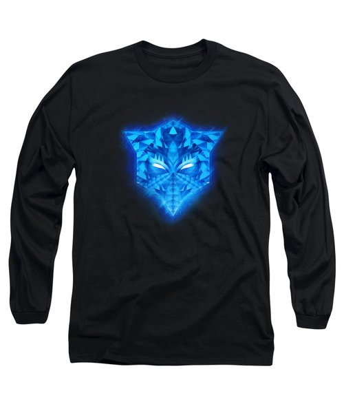 Deep Blue Collosal Low Poly Triangle Pattern  Modern Abstract Cubism  Design Long Sleeve T-Shirt
