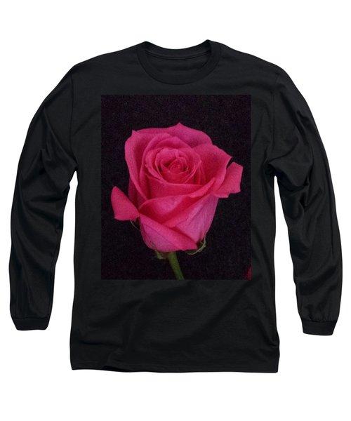 Deep Pink Rose On Black Long Sleeve T-Shirt by Karen J Shine
