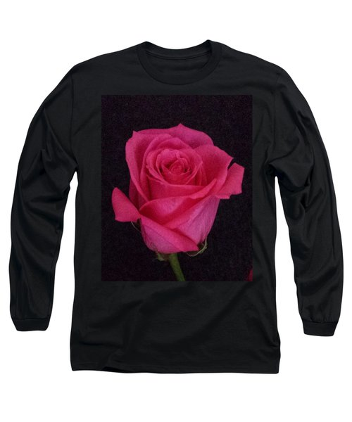 Deep Pink Rose On Black Long Sleeve T-Shirt