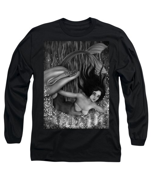 Long Sleeve T-Shirt featuring the painting Deep Sea Mermaid - Black And White Fantasy Art by Raphael Lopez