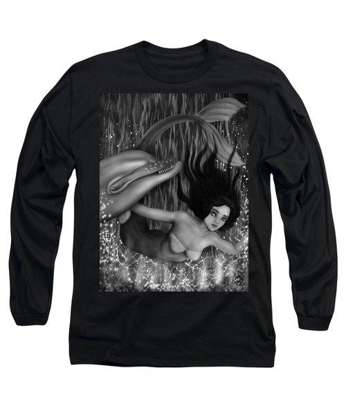 Deep Sea Mermaid - Black And White Fantasy Art Long Sleeve T-Shirt