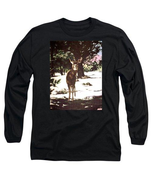 Deer In Snow Long Sleeve T-Shirt by Vivien Rhyan