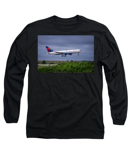 Delta Air Lines 757 Airplane N557nw Art Long Sleeve T-Shirt by Reid Callaway