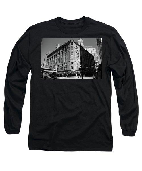 Denver Downtown Bw Long Sleeve T-Shirt by Frank Romeo