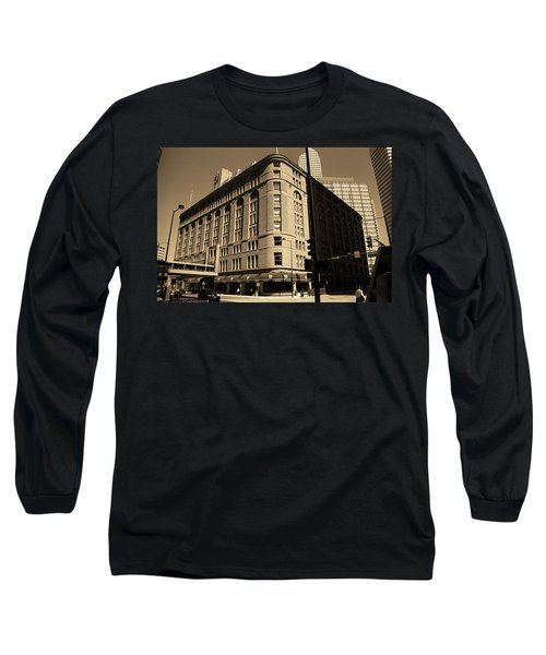 Long Sleeve T-Shirt featuring the photograph Denver Downtown Sepia by Frank Romeo