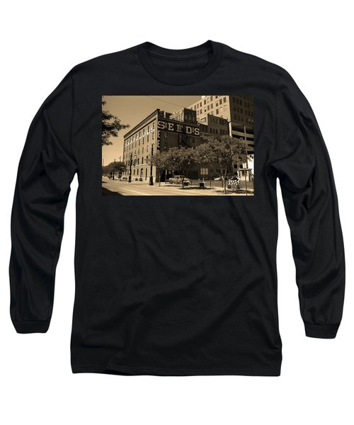 Long Sleeve T-Shirt featuring the photograph Denver Downtown Warehouse Sepia by Frank Romeo