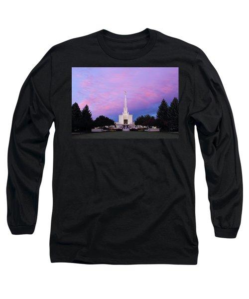 Denver Lds Temple At Sunrise Long Sleeve T-Shirt