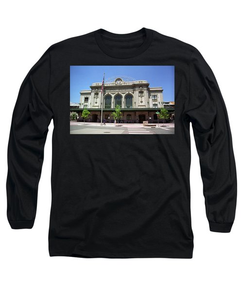 Long Sleeve T-Shirt featuring the photograph Denver - Union Station Film by Frank Romeo