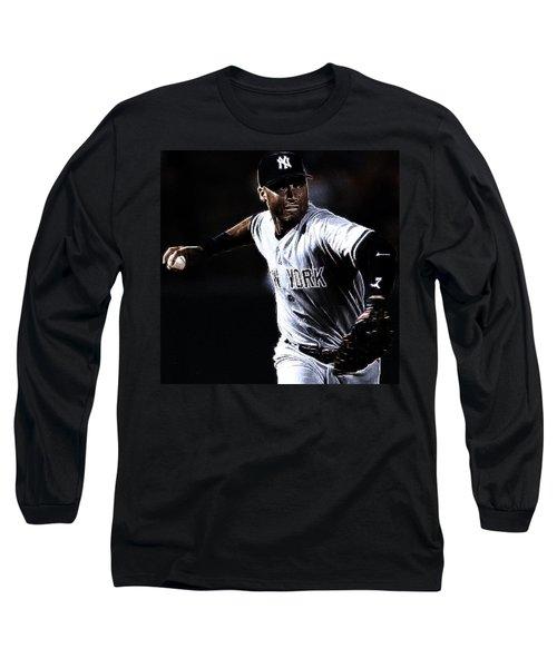 Derek Jeter Long Sleeve T-Shirt by Paul Ward