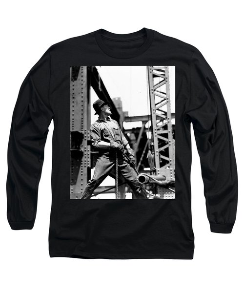 Derrick Man   Empire State Building Long Sleeve T-Shirt by LW Hine