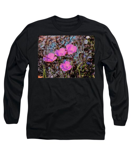 Desert Flowers Abstract Long Sleeve T-Shirt by Penny Lisowski