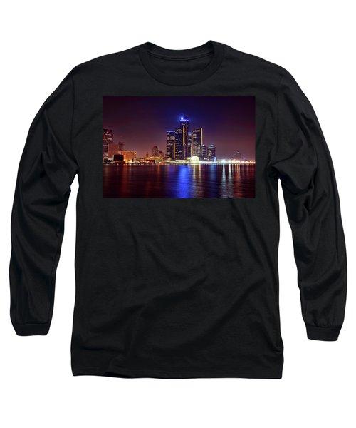 Detroit Skyline 4 Long Sleeve T-Shirt by Gordon Dean II