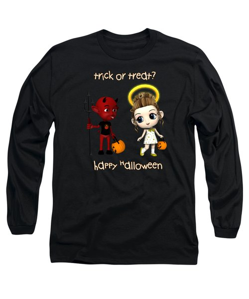 Devil Or Angel Trick Or Treat Long Sleeve T-Shirt by Methune Hively