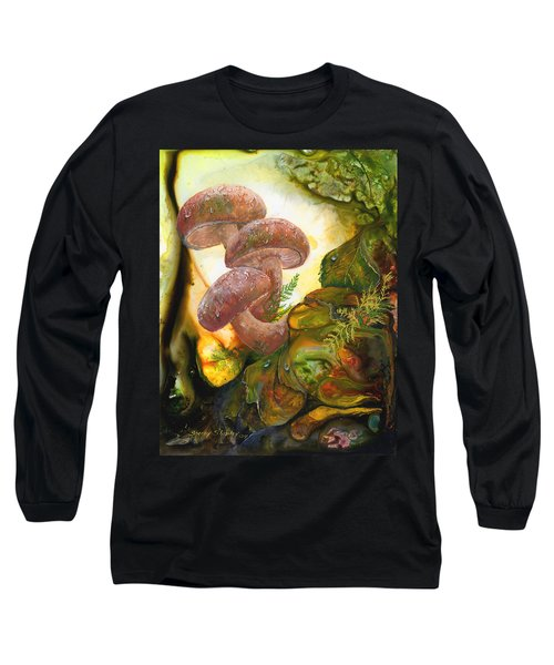 Long Sleeve T-Shirt featuring the painting Dew Drop Mushrooms by Sherry Shipley