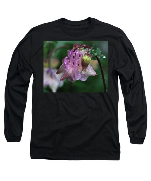 Long Sleeve T-Shirt featuring the photograph Dewey Morning Columbine by Susan Capuano