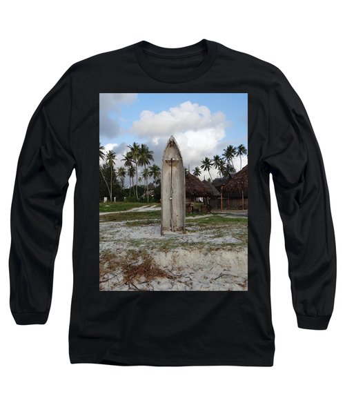 Dhow Wooden Boat As A Beach Shower Long Sleeve T-Shirt
