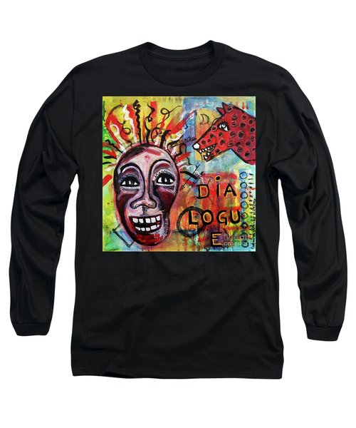 Long Sleeve T-Shirt featuring the mixed media Dialogue Between Red Dawg And Wildwoman-self by Mimulux patricia no No