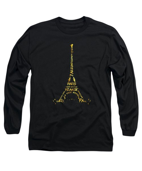 Digital-art Eiffel Tower - Black And Golden Long Sleeve T-Shirt by Melanie Viola