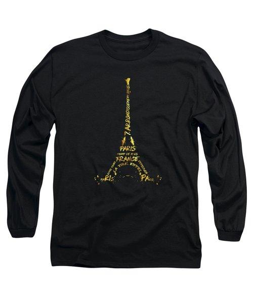 Digital-art Eiffel Tower - Black And Golden Long Sleeve T-Shirt