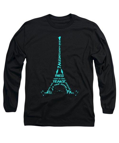 Digital-art Eiffel Tower Cyan Long Sleeve T-Shirt
