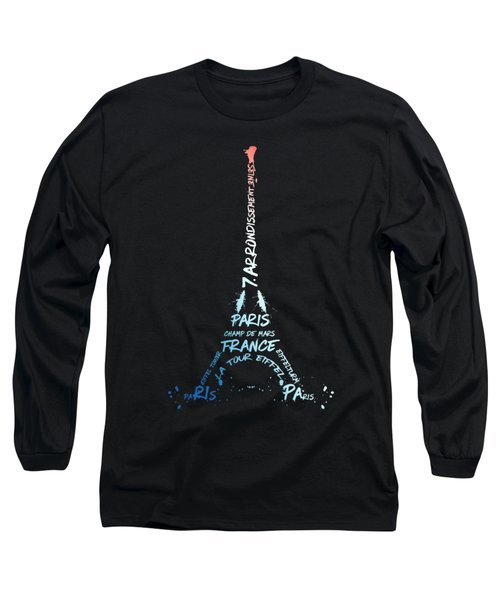 Digital-art Eiffel Tower National Colours Long Sleeve T-Shirt by Melanie Viola