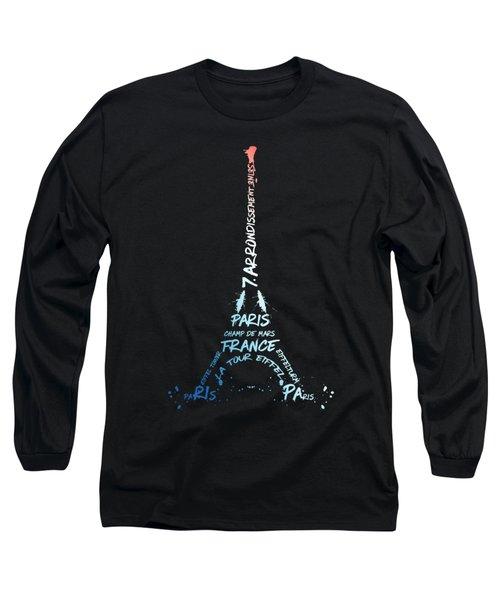 Digital-art Eiffel Tower National Colours Long Sleeve T-Shirt