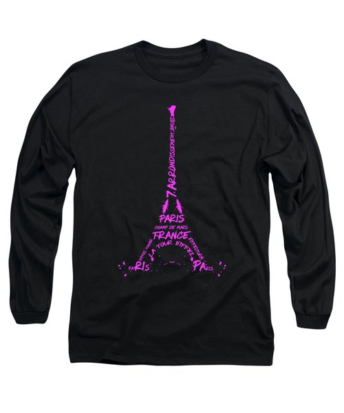Digital-art Eiffel Tower Pink Long Sleeve T-Shirt by Melanie Viola