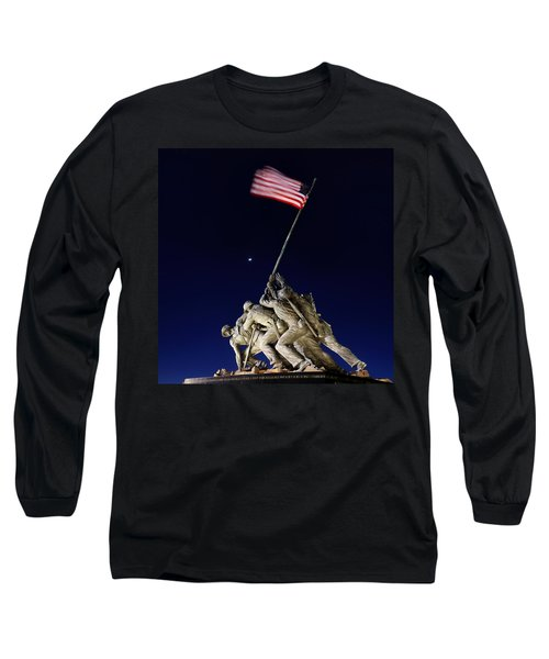 Digital Liquid - Iwo Jima Memorial At Dusk Long Sleeve T-Shirt