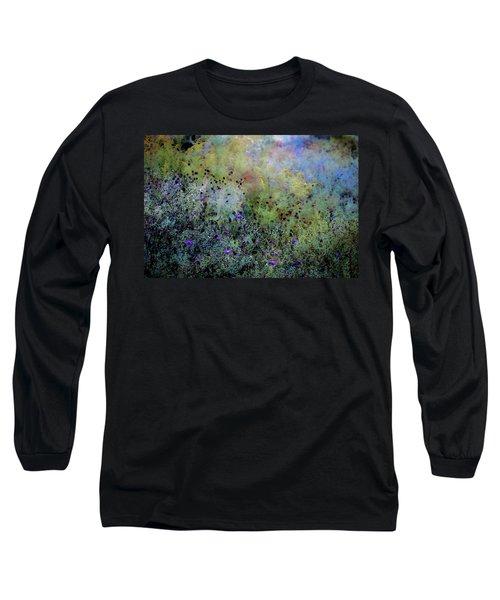 Digital Watercolor Field Of Wildflowers 4064 W_2 Long Sleeve T-Shirt