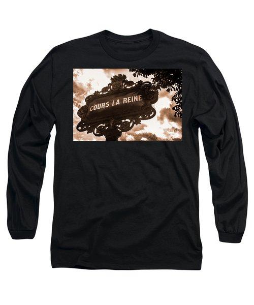 Distressed Parisian Street Sign Long Sleeve T-Shirt