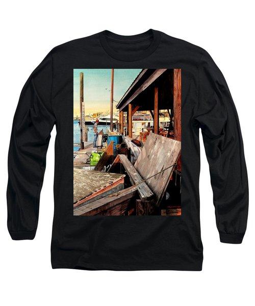Docks At Port Aransas Long Sleeve T-Shirt