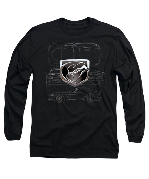 Dodge Viper  3 D  Badge Over Dodge Viper S R T 10 Silver Blueprint On Black Special Edition Long Sleeve T-Shirt by Serge Averbukh