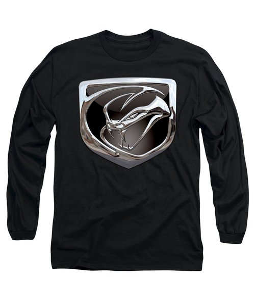 Dodge Viper - 3d Badge On Black Long Sleeve T-Shirt by Serge Averbukh