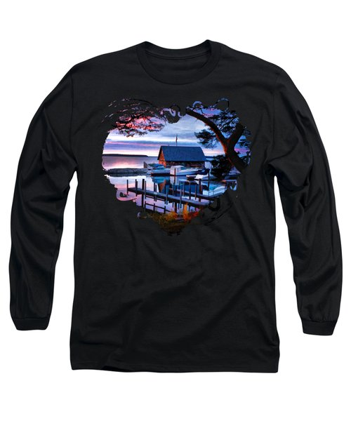 Door County Anderson Dock Sunset Long Sleeve T-Shirt by Christopher Arndt