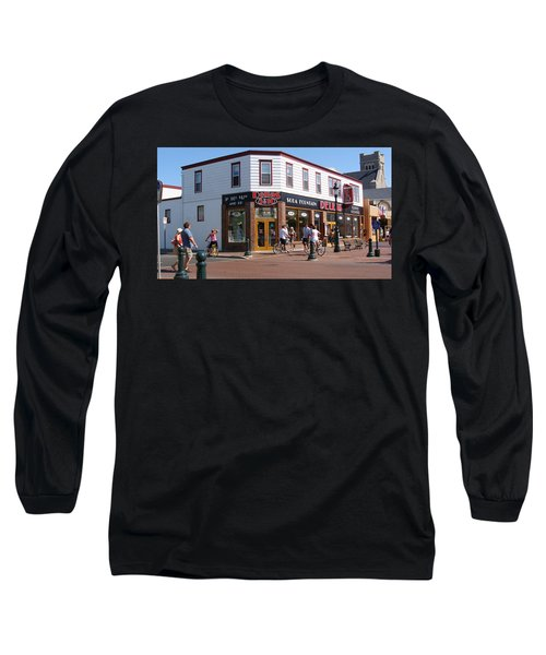 Long Sleeve T-Shirt featuring the painting Downtown Cape May New Jersey by Rod Jellison