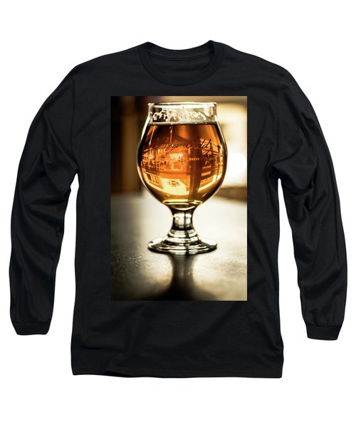 Downtown Waukesha Through A Glass Of Beer At Bernie's Taproom Long Sleeve T-Shirt