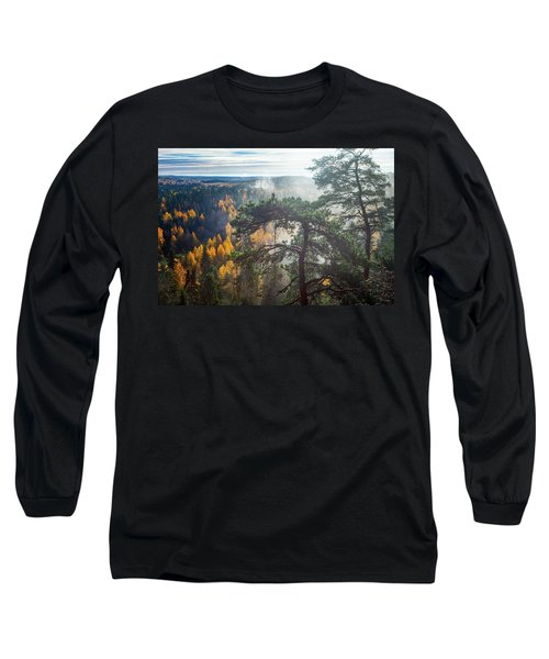 Dramatic Autumn Forest With Trees On Foreground Long Sleeve T-Shirt by Teemu Tretjakov