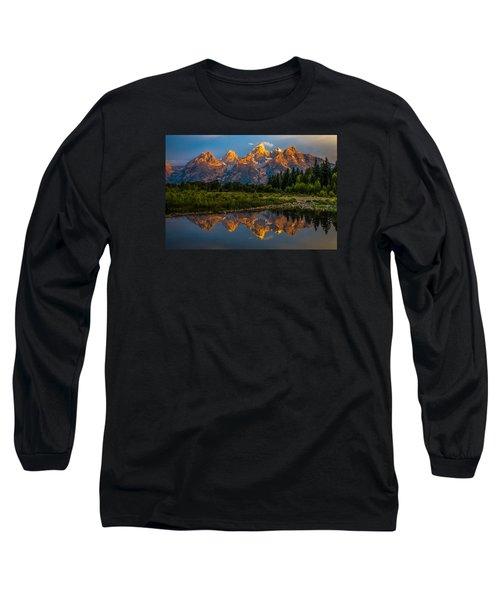 Dramatic Grand Teton Sunrise Long Sleeve T-Shirt by Serge Skiba