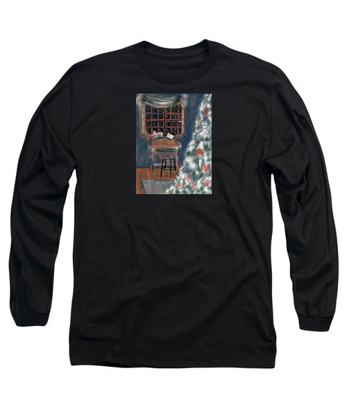 Long Sleeve T-Shirt featuring the painting Drawing Board At Christmas by Jean Pacheco Ravinski